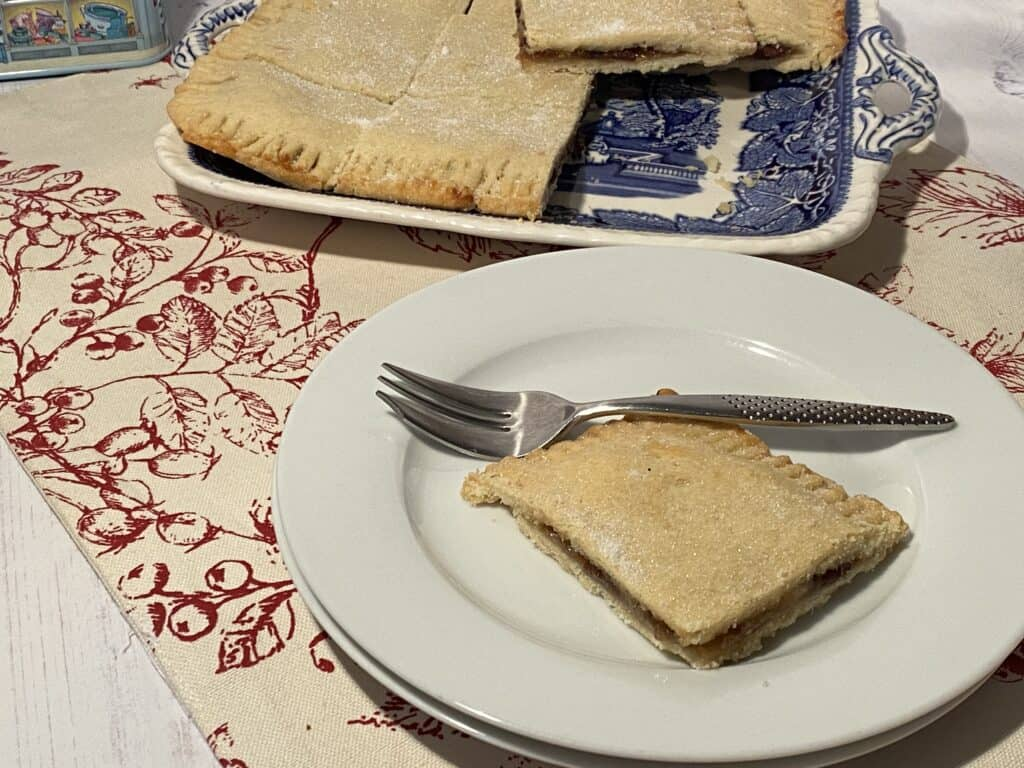 Mince Meat square on a white plate