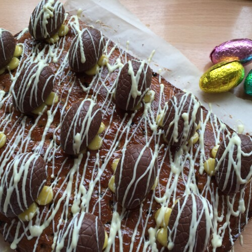 Simnel Cake with Hollow Chocolate Eggs.