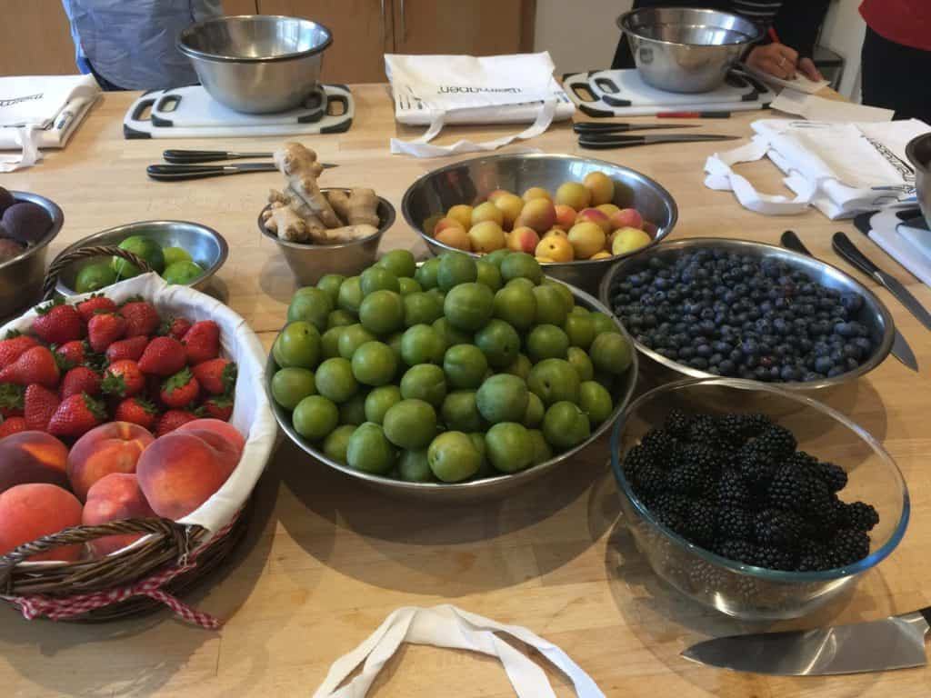 Bowls of Fresh Fruit on a wooden table