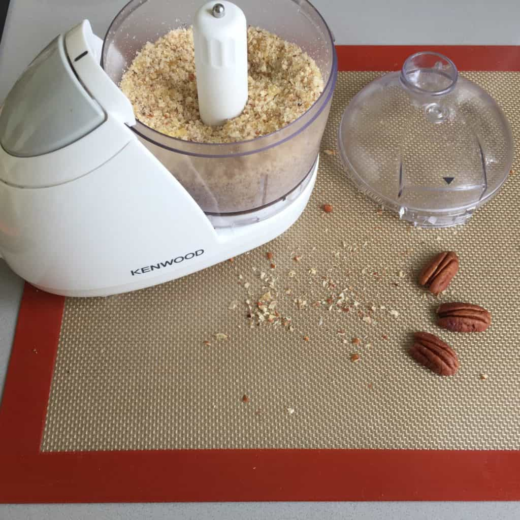Small blender filled with crushed Pecan Brittle.