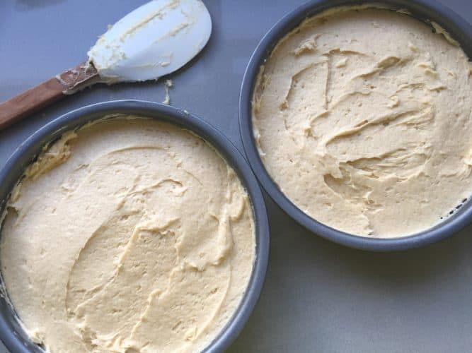 Cake batter evenly spread in the cake tins