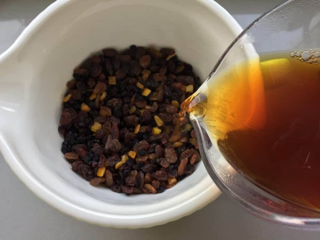 Freshly brewed Yorkshire Tea poured over mixed dried fruit.