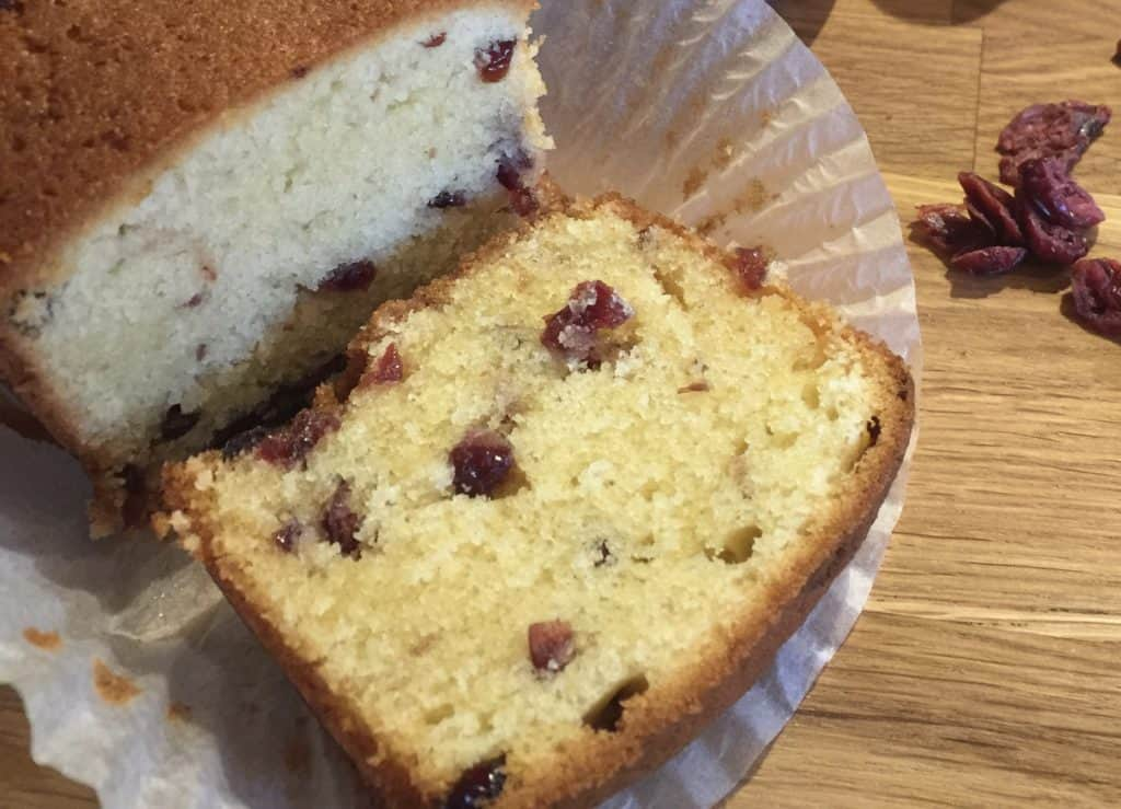 Slice of Cranberry and Almond loaf.