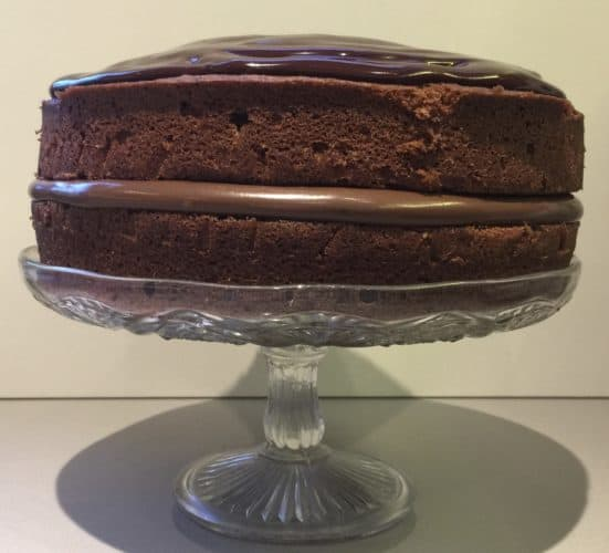 Chocolate Cake on a glass cake stand