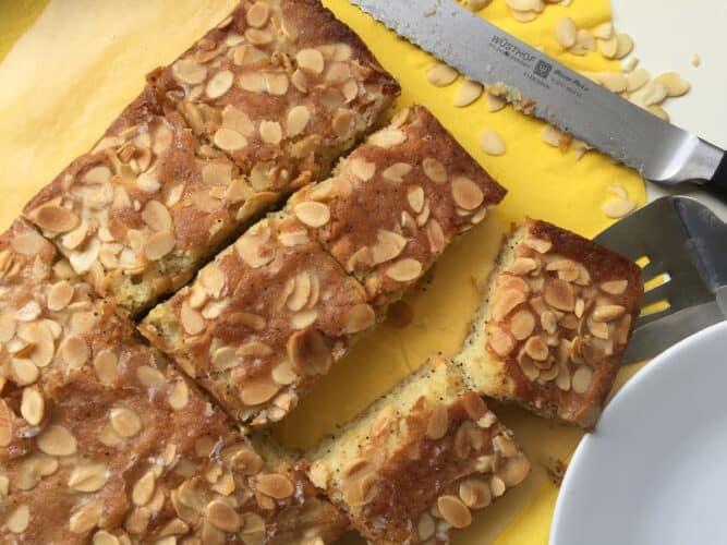 Lemon, Almond poppy seed squares