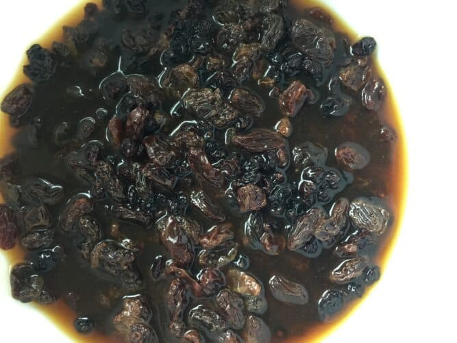 currants and raisins soaking in fresh coffee