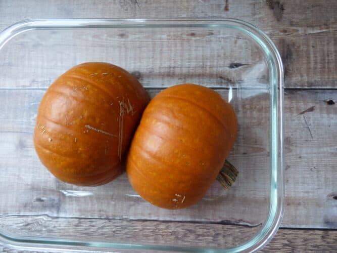Pumkin halves in a dish