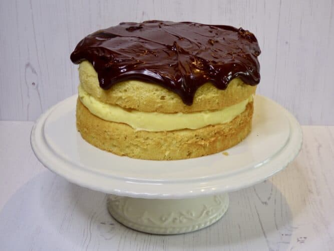 Boston Cream Pie on a cake stand