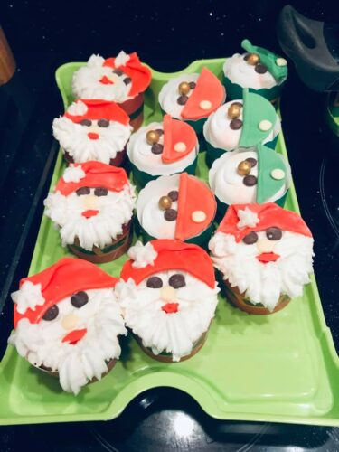 Santa Clause decorated cupcakes