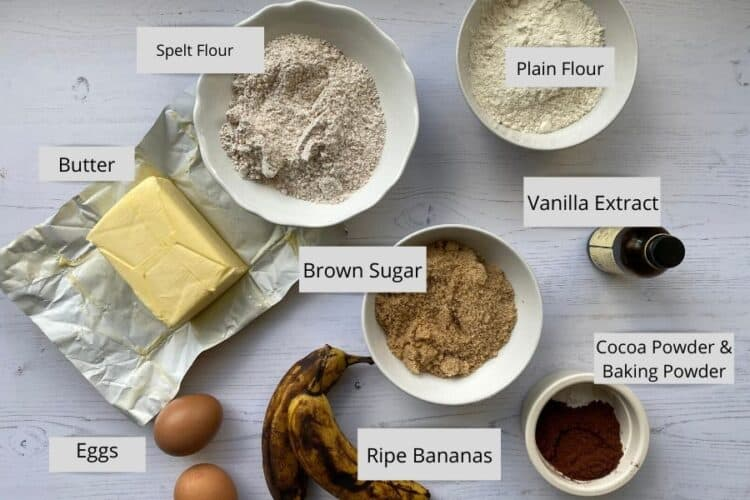 Ingredients for Chocolate and Banana Loaf