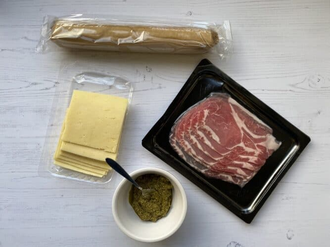 Ingredients for Puff Pastry Cheese and Bacon Wraps.