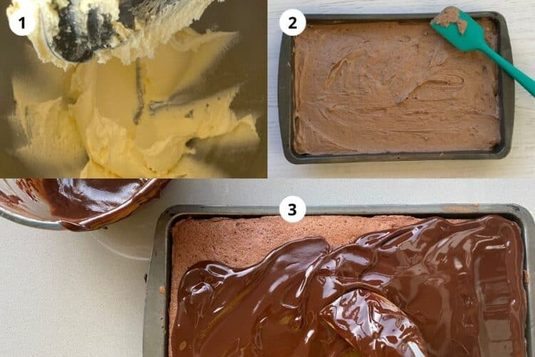 Step by Step instructions for a Chocolate Sponge Traybake