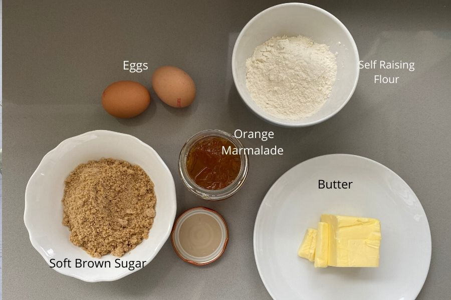 Brown Sugar, eggs, orange marmalade, butter and self raising flour to make orange marmalade cake, or orange bread as the Americans would call it.