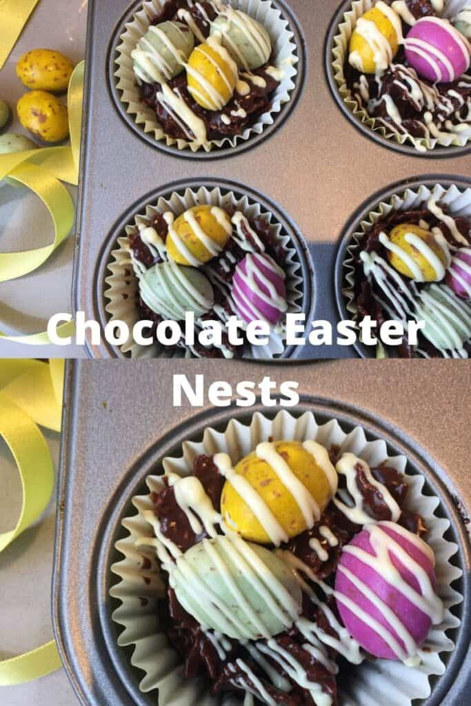 Pinterest Image saying chocolate Easter Nests