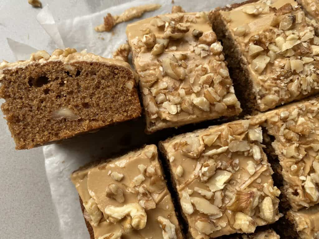 Slices of coffee tray bake