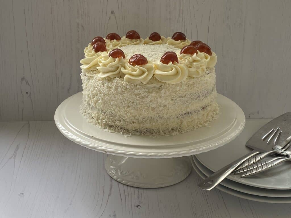 Cake on a white cake stand