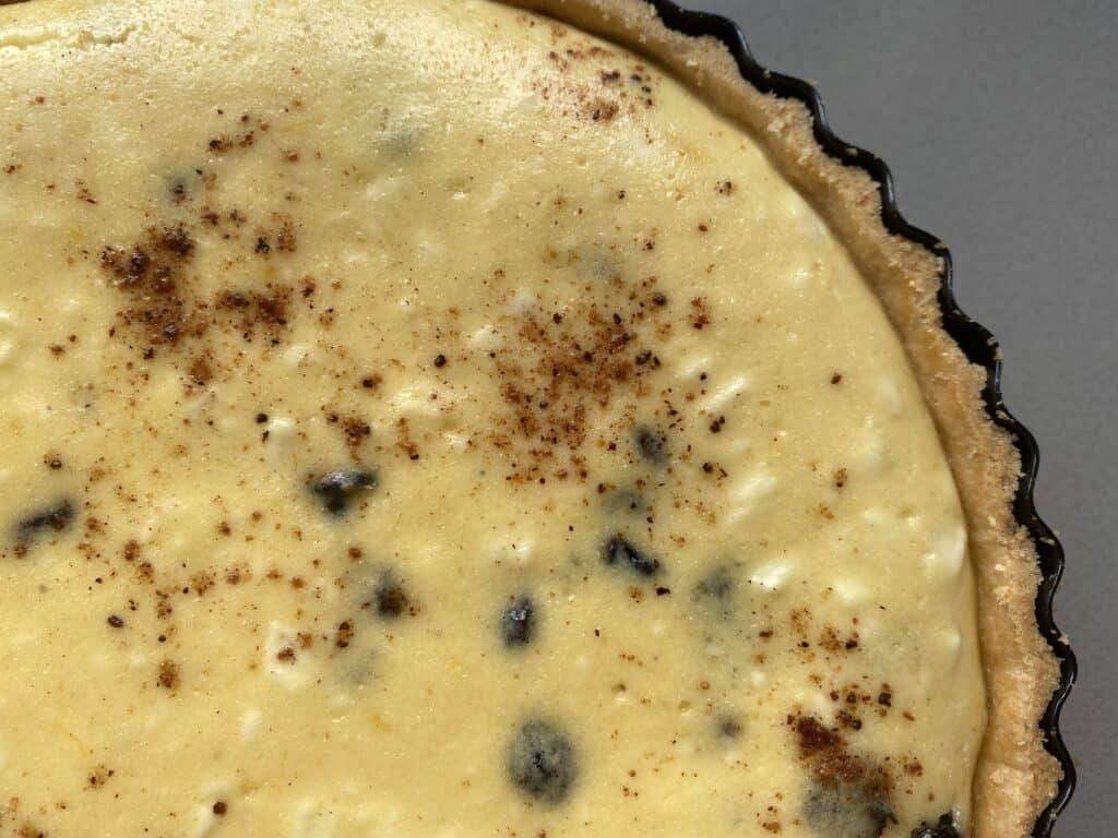 overhead close up of a Baked curd tart