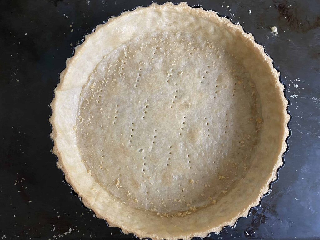 Overhead shot of a baked shortcrust pastry case