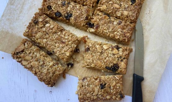 Flapjack slices on baking parchment