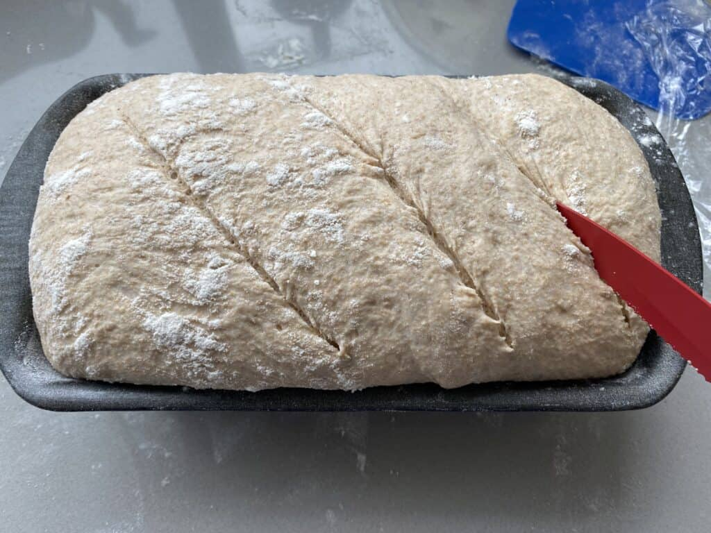 Red knife slashing the top of bread dough before baking