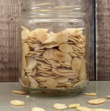 Toasted Flaked Almonds in a glass jar