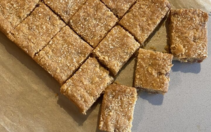Overhead shot of slices of cookie bars