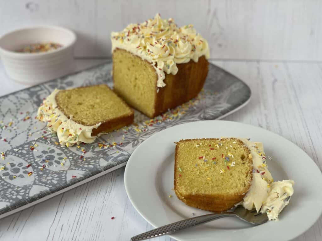 Slices of Vanilla Loaf Cake on a white plate