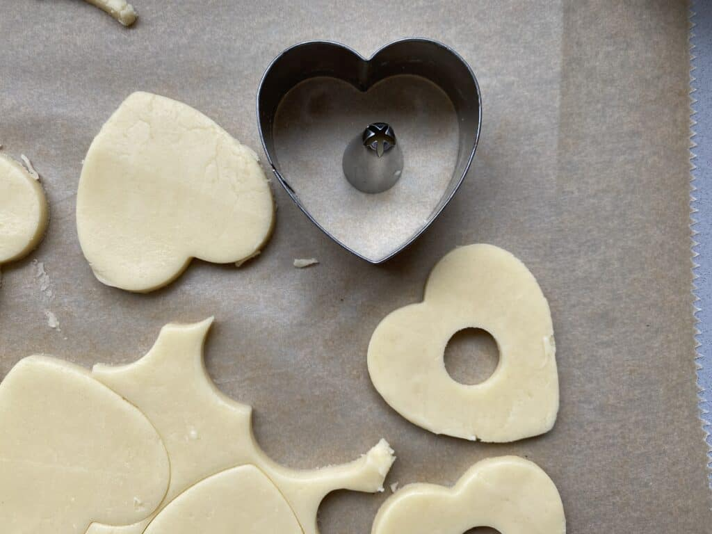 Heart shaped cutter with biscuit dough