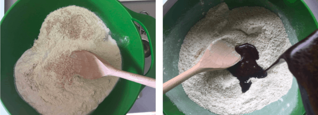 Dry cake ingredients in green mixing bowls