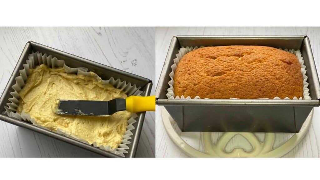 Prebaked and baked loaf cake in 1lb loaf tins.