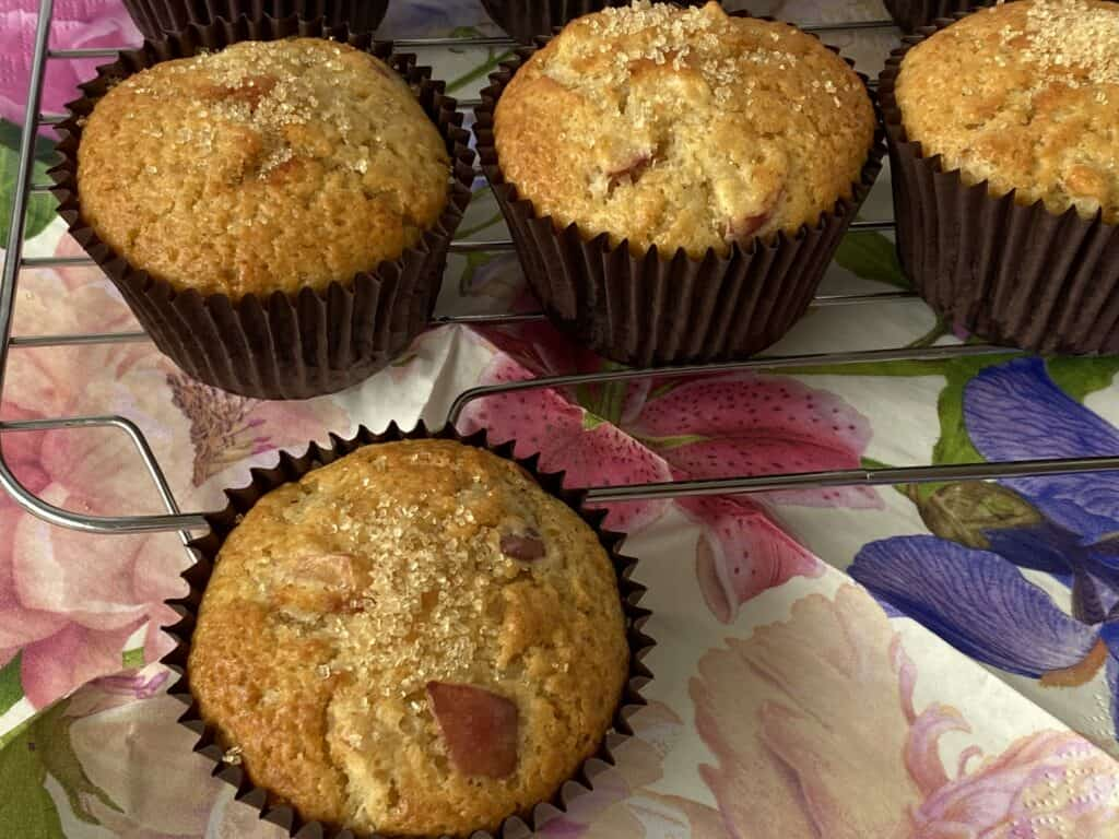Perfect make ahead breakfast cinnamon apple Muffins on a decorative napkin