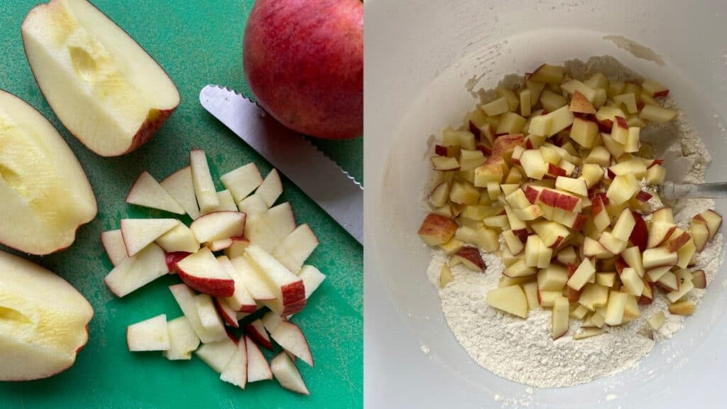 dicing apples with the skin on next to picture of apples in dry mix for cinnamon apple cake
