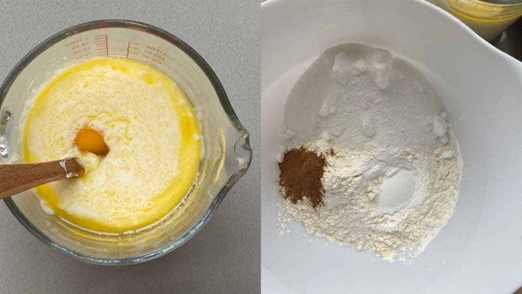 wet ingredients: melted butter, egg, buttermilk and milk in a jug. Dry ingredients in a bowl.
