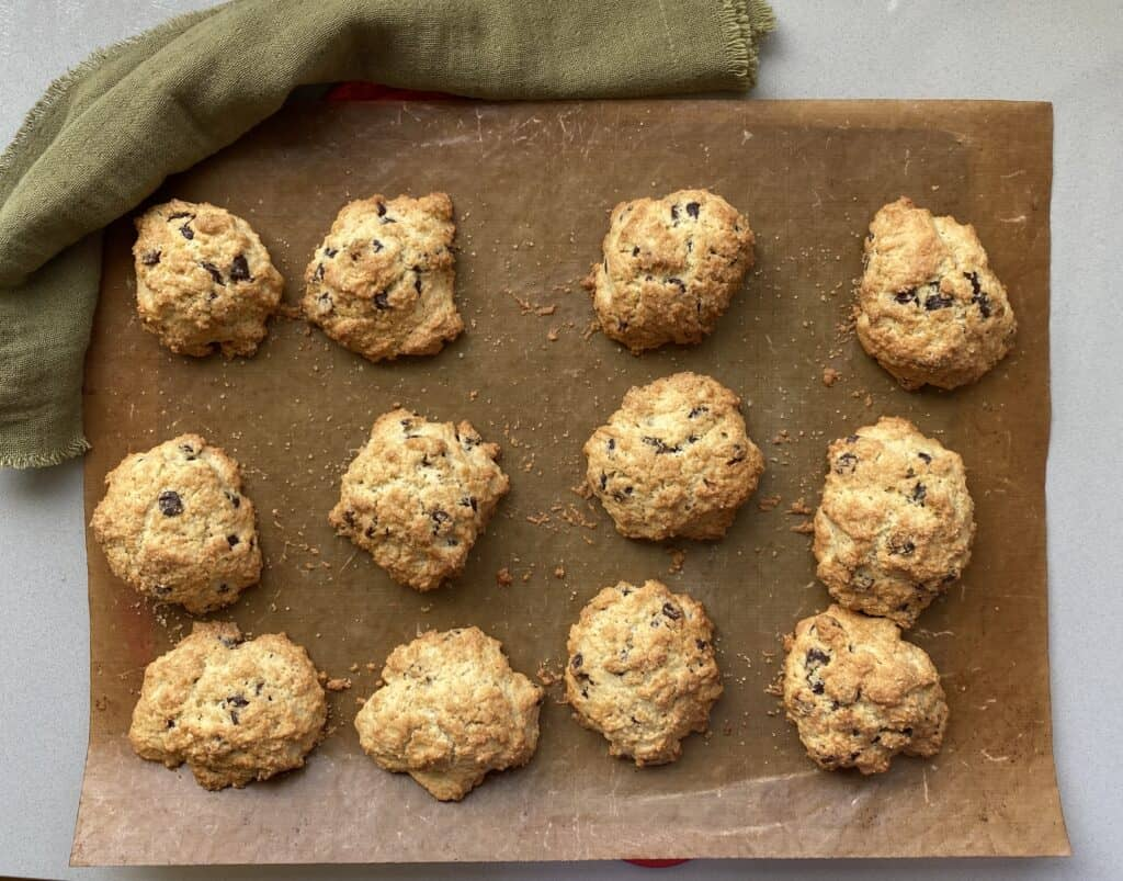 Baked Rock Cakes on a baking sheet