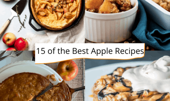 collection of apple recipe images with sign saying 15 of the best apple recipes