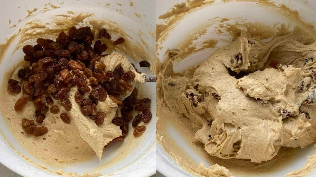 Collage image of Sultana Cake Batter in a white mixing bowl.