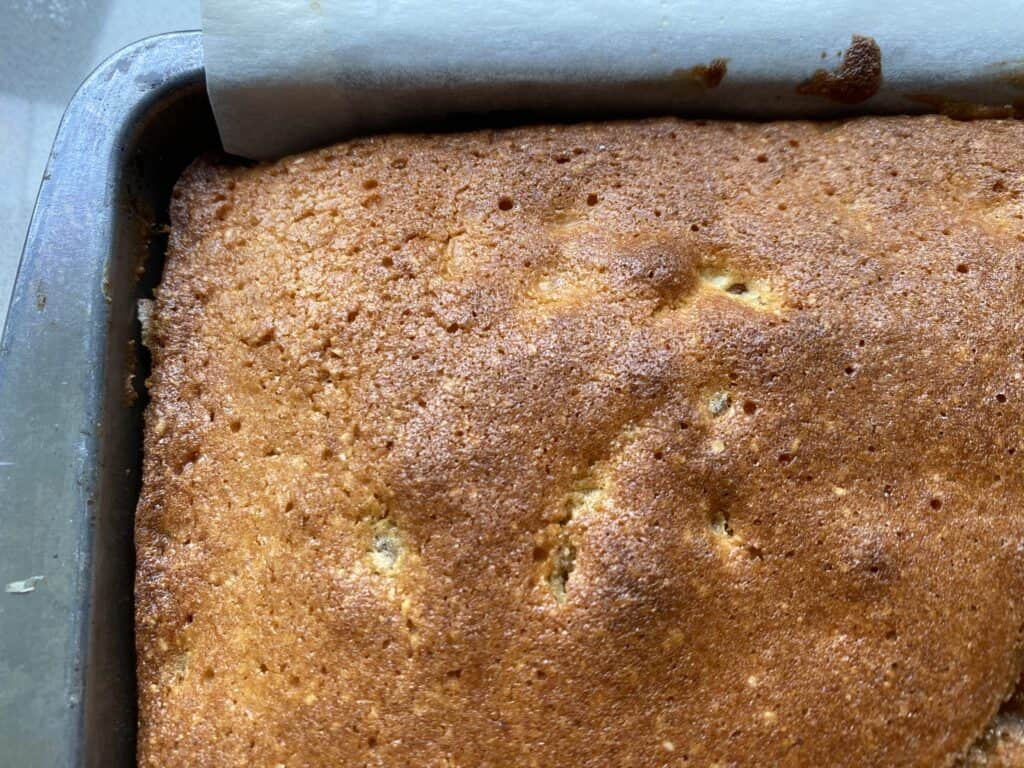 Baked cake in a traybake tin