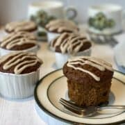 Treacle Muffin on a plate with a fork by the side