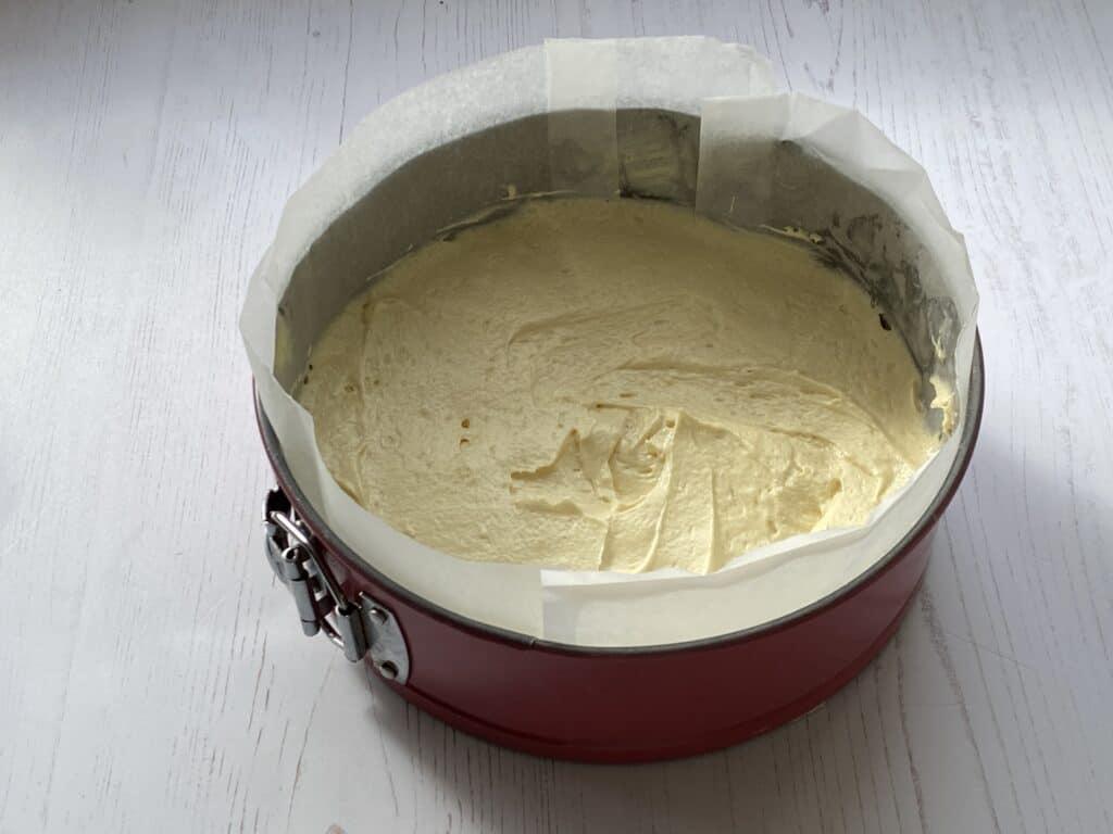 Cake batter in a cake tin