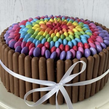 Overhead shot of a Smarties cake