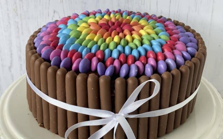 Overhead shot of a Smarties cake