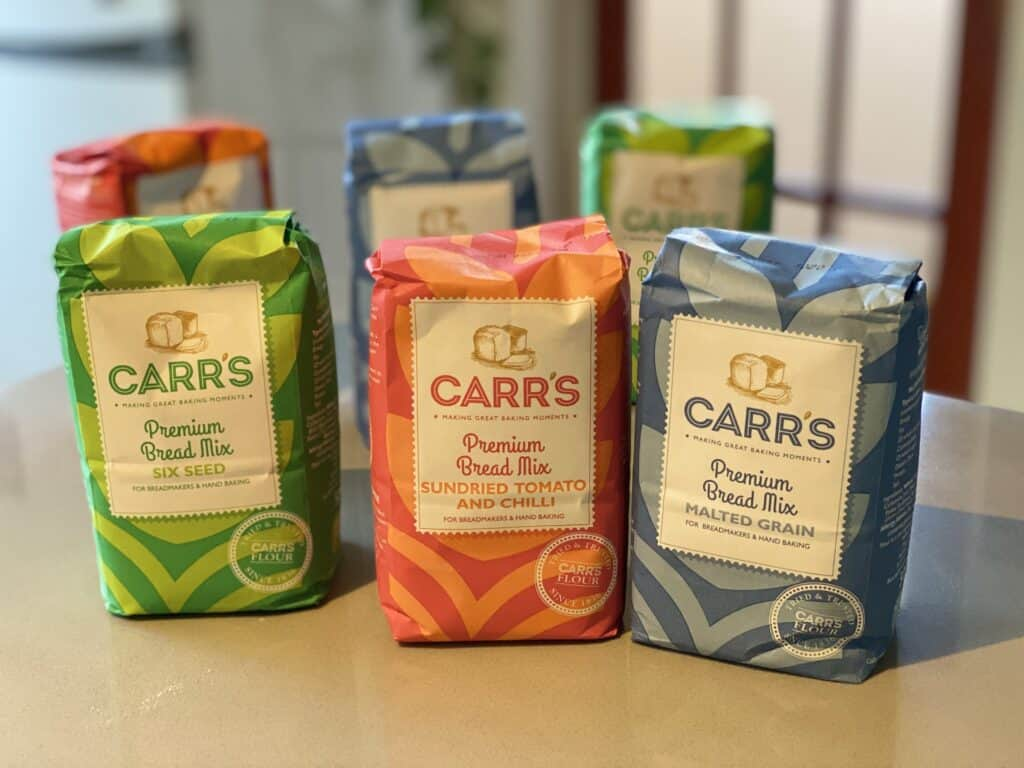 packets of Carrs Bread Mixes on a counter top