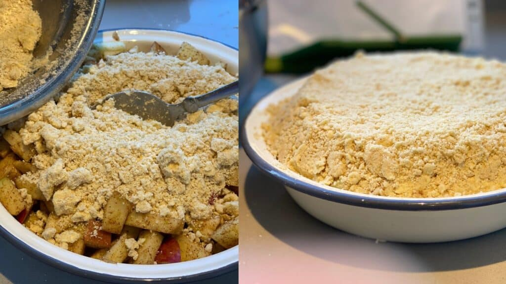 Pour the Crumble topping onto the chunks of apples