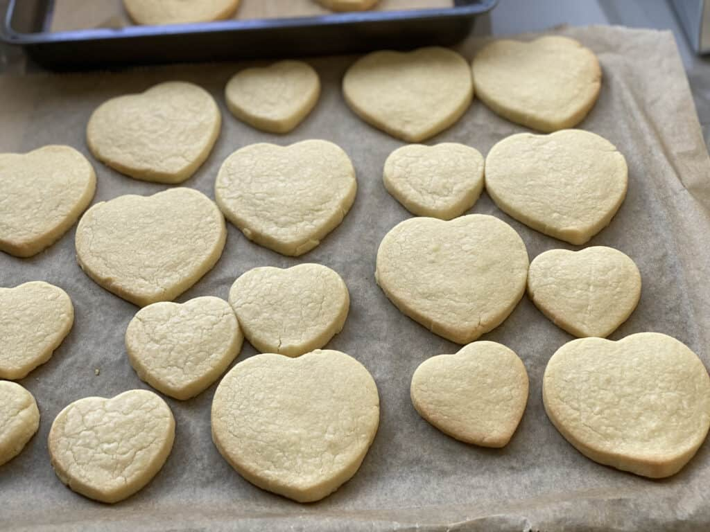 Baked Shortbread biscuits on a baking sheet