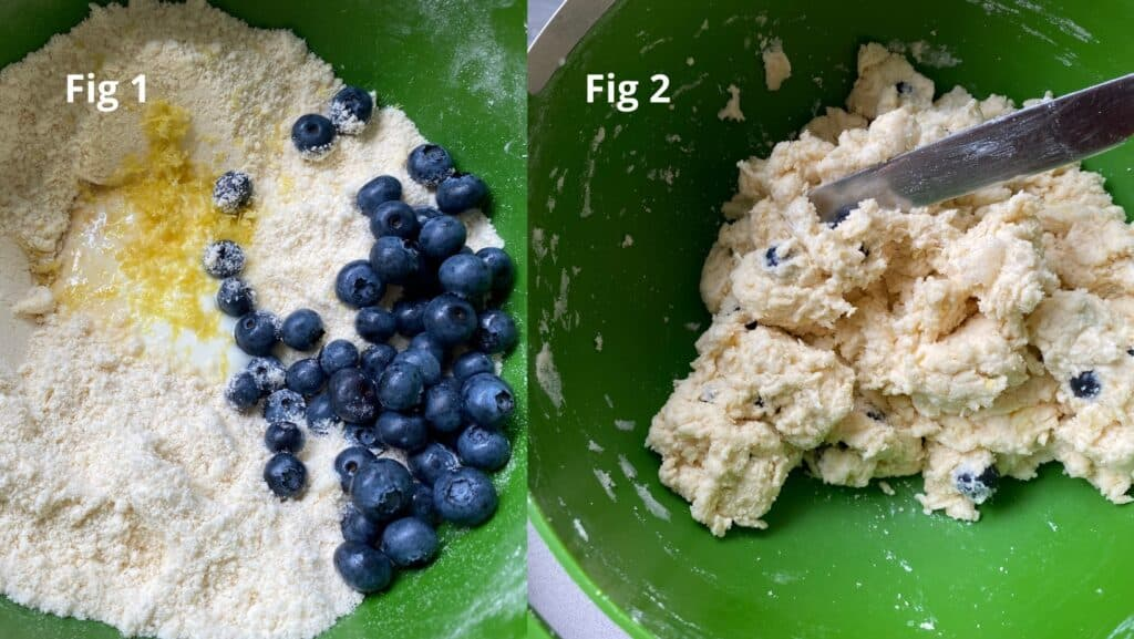 Scone ingredients in a green bowl