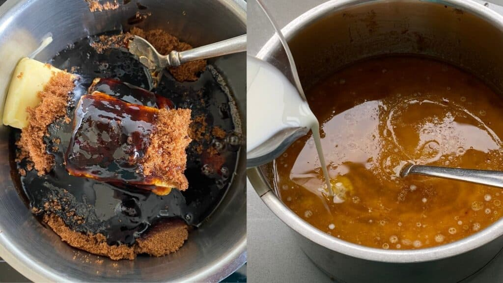 Butter, Treacle and Sugar melting in a pan