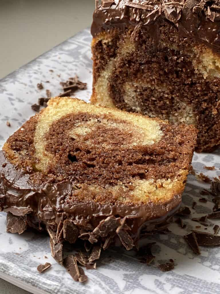 Slice of Marble Cake on a grey plate