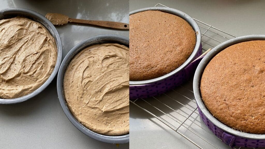 Pour the batter evenly into the cake tins