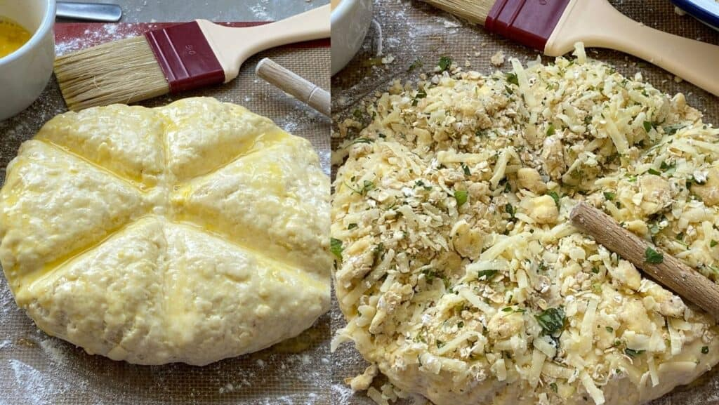 Cheese Scone dough with a herb topping