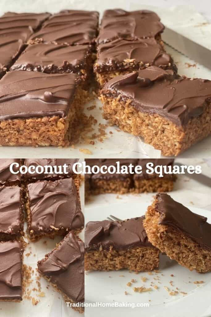 Collage of slices of Chocolate Coconut Squares